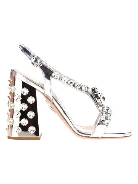 Miu Miu Miu Miu Crystals Embellished Sandals in silver