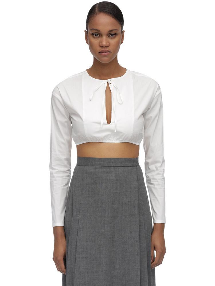 MARYAM NASSIR ZADEH Self Tie Collar Cotton Poplin Crop Top in white