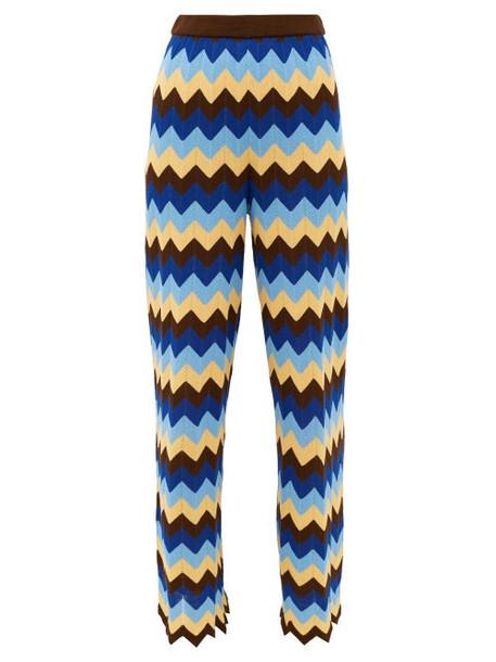 M Missoni - High-rise Zigzag Cotton Wide-leg Trousers - Womens - Blue Multi
