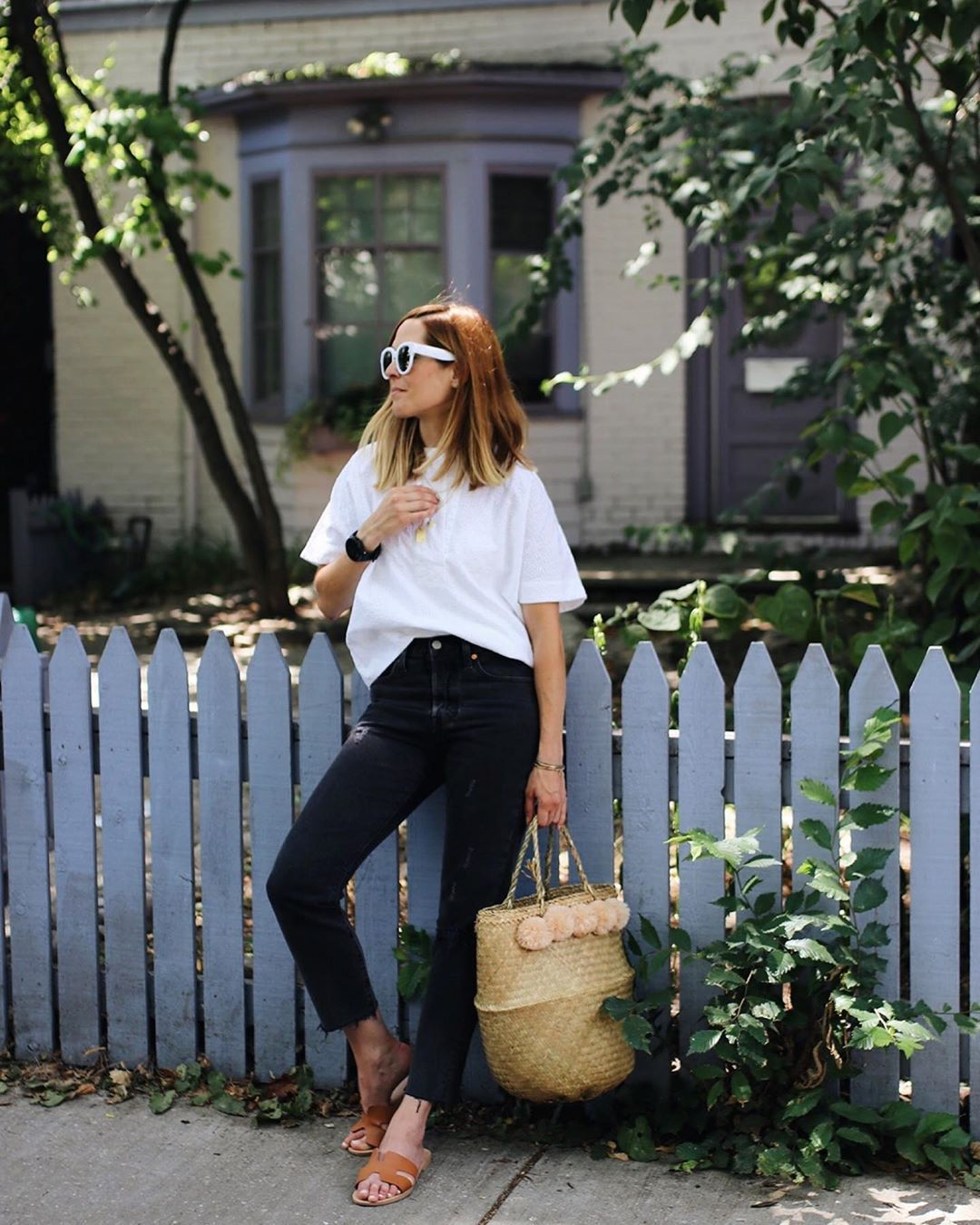 jeans black jeans cropped jeans slide shoes bag white t-shirt
