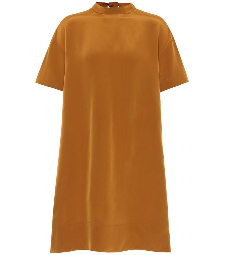Chloé Satin-crêpe minidress in brown