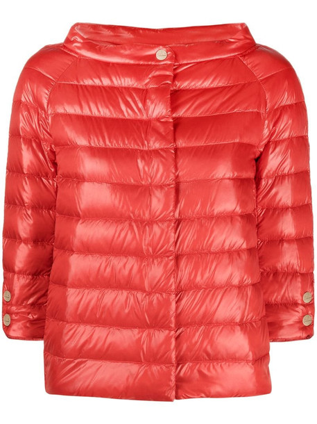 Herno Emilia quilted cropped jacket in red