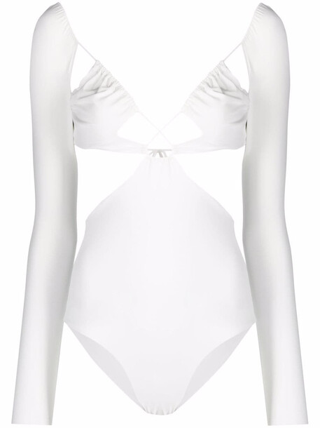 Amazuìn Azhar longsleeved cut-out swimsuit - White