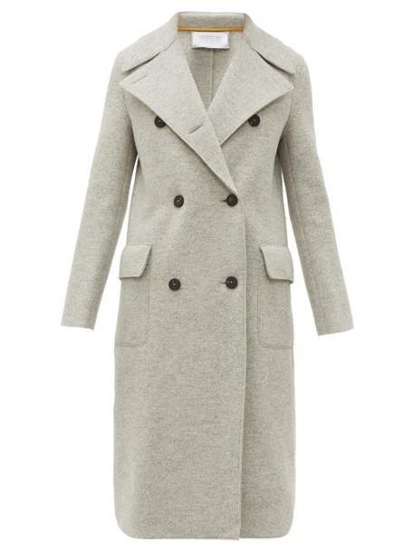 Harris Wharf London - Wide Lapel Double Breasted Boiled Virgin Wool Coat - Womens - Light Grey