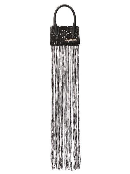 Jacquemus - Espelho Mini Tasselled Tweed Bag - Womens - Black