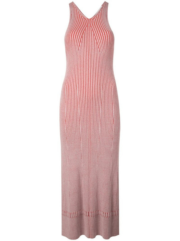 Proenza Schouler White Label Sleeveless Rib Knit Long Dress in red