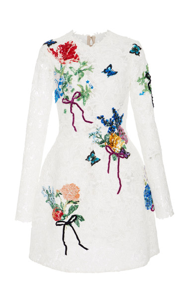 Monique Lhuillier Embroidered Long Sleeve Lace Dress in white