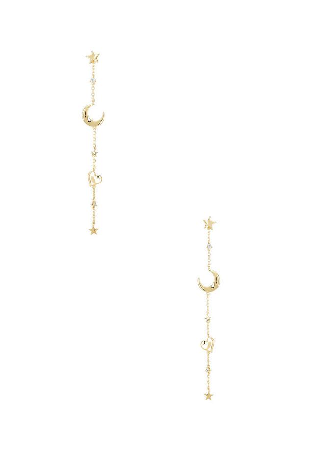 Wanderlust + Co Astra Multi Drop Earrings in gold / metallic