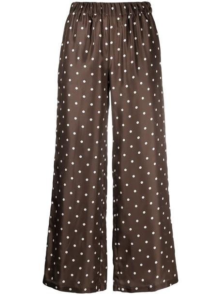 P.A.R.O.S.H. silk polka dot print palazzo pants in brown
