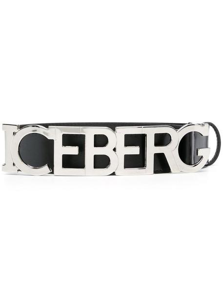 Iceberg logo plaque-embellished belt in black