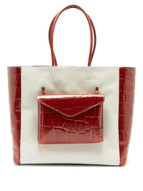 Staud - Linda Leather And Canvas Tote Bag - Womens - Cream Multi