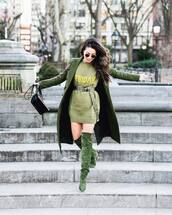sweater,knitted sweater,over the knee boots,suede boots,heel boots,green coat,black bag,belt