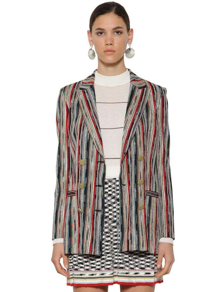 MISSONI Striped Double Breast Wool Knit Blazer