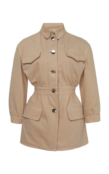 Prada Gathered Cotton Jacket in neutral