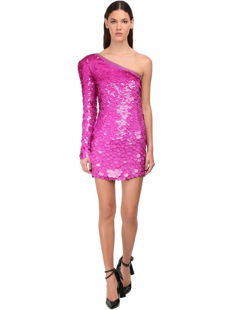 DUNDAS One-shoulder Sequins Mini Dress in fuchsia