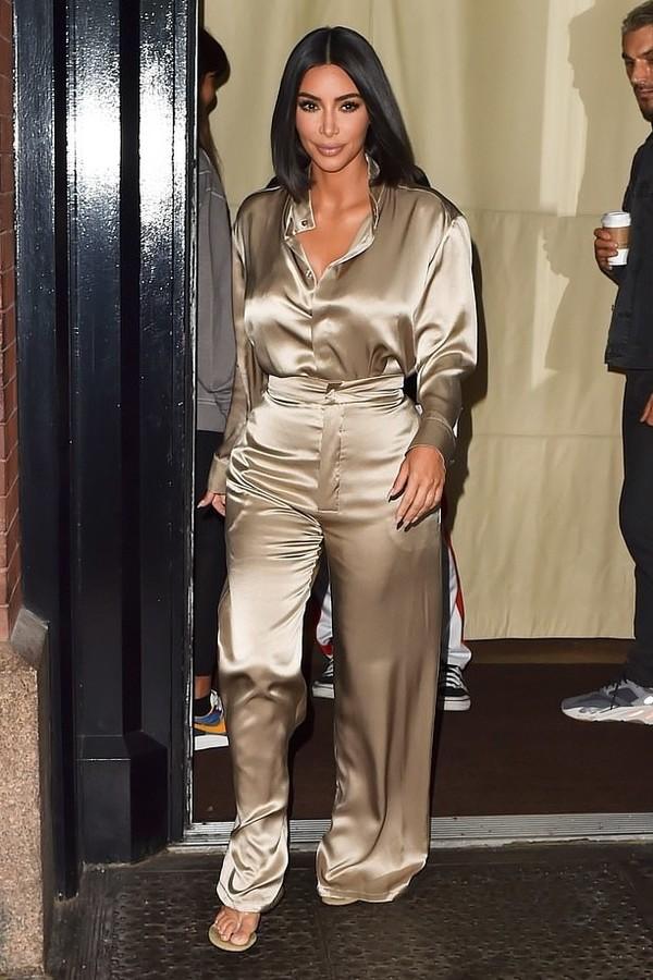 top nude blouse shirt pants kim kardashian kardashians celebrity silk