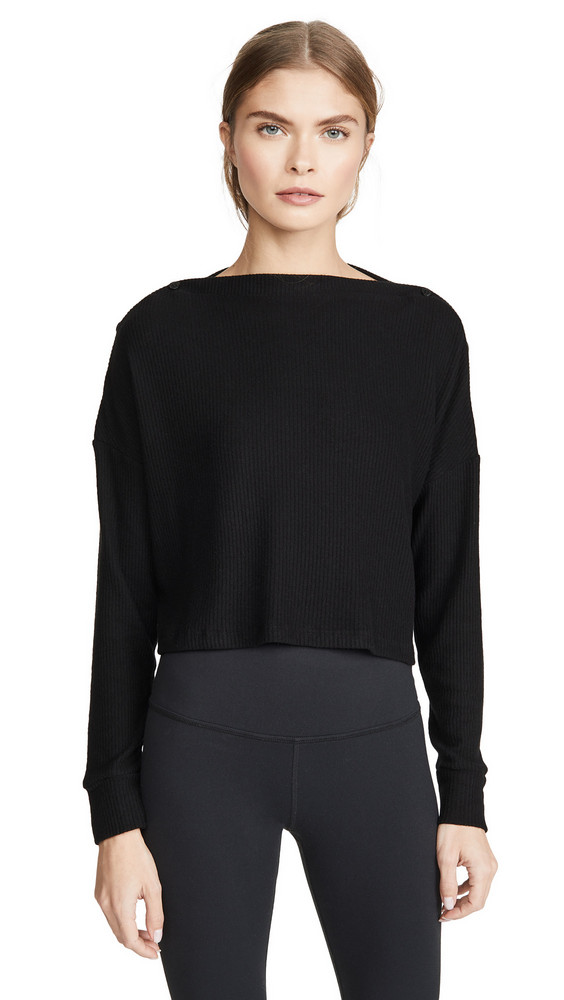 Beyond Yoga Your Line Buttoned Boxy Pullover in black