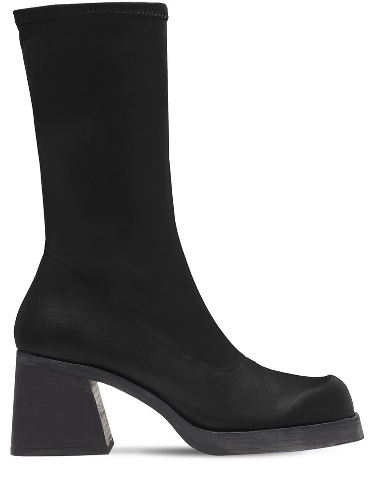 MIISTA 50mm Elke Stretch Patent Leather Boots in black