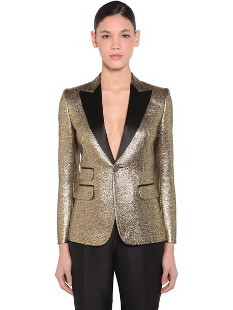 DSQUARED2 Jacquard Lame Single Breast Blazer in gold