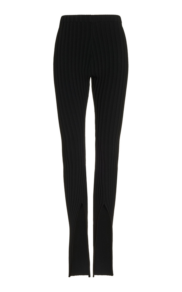 Boyarovskaya Split-Leg Ribbed Leggings in black