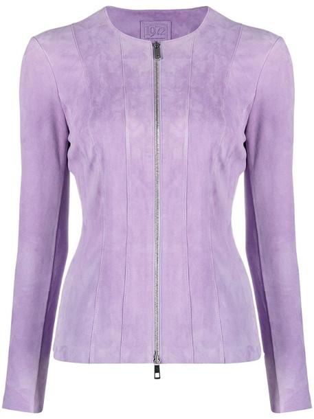 Desa 1972 zip-up suede jacket in purple