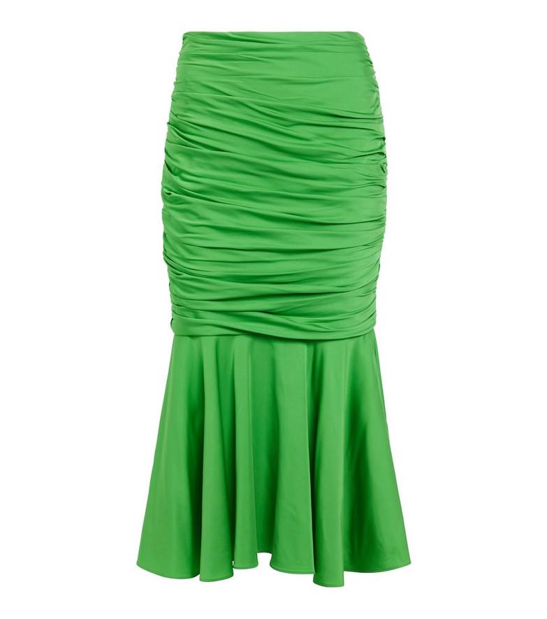STELLA McCARTNEY Ruched midi skirt in green