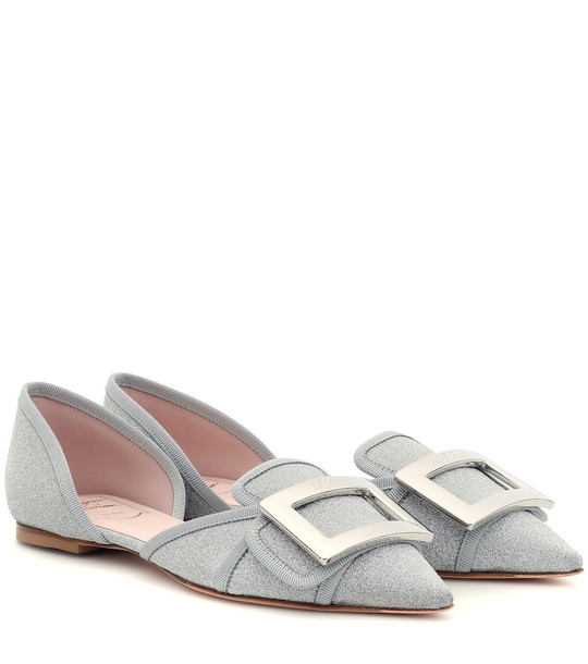 Roger Vivier Soft Gommettine glitter ballet flats in silver