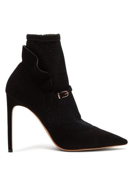 Sophia Webster - Lucia Lurex Panelled Suede Ankle Boots - Womens - Black