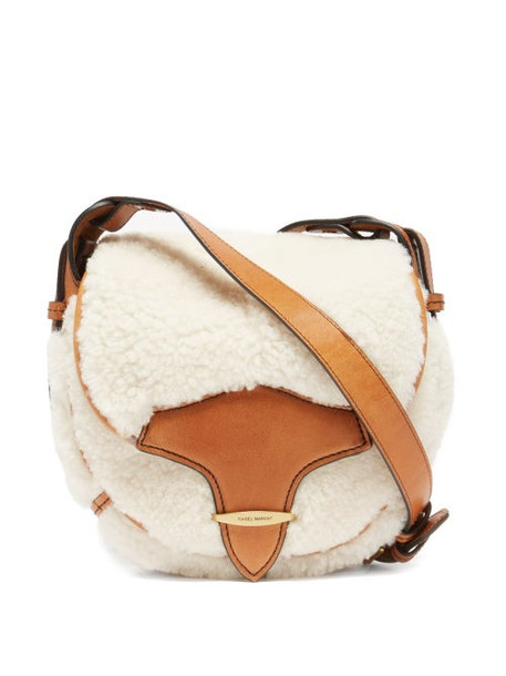 Isabel Marant - Botsy Leather-trim Shearling Cross-body Bag - Womens - Ivory Multi