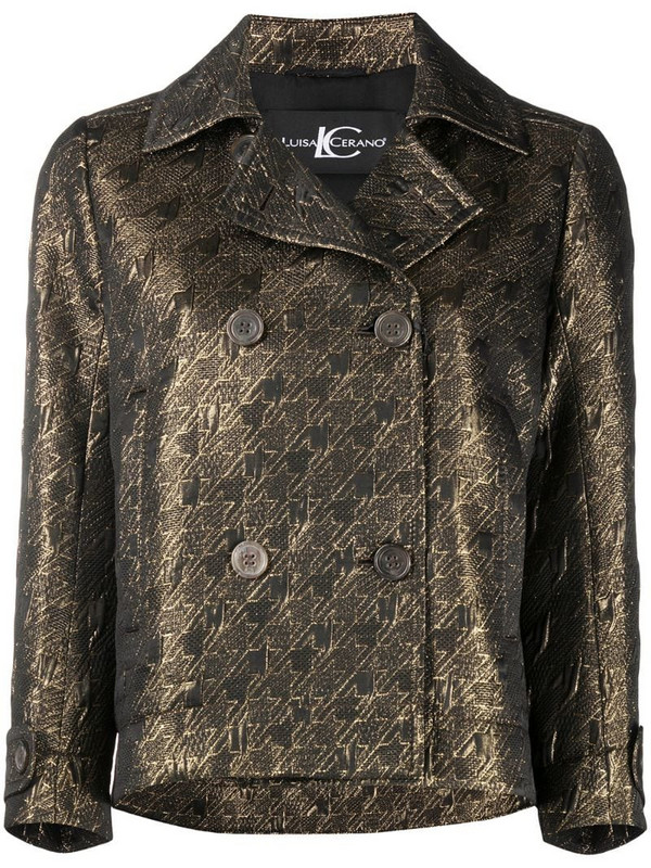 Luisa Cerano houndstooth jacquard jacket in gold