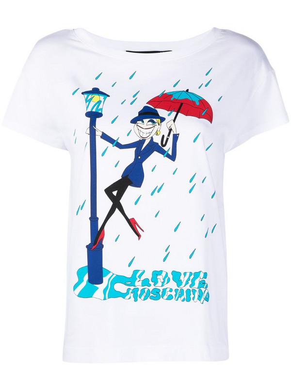 Love Moschino Singing in the Rain T-shirt in white