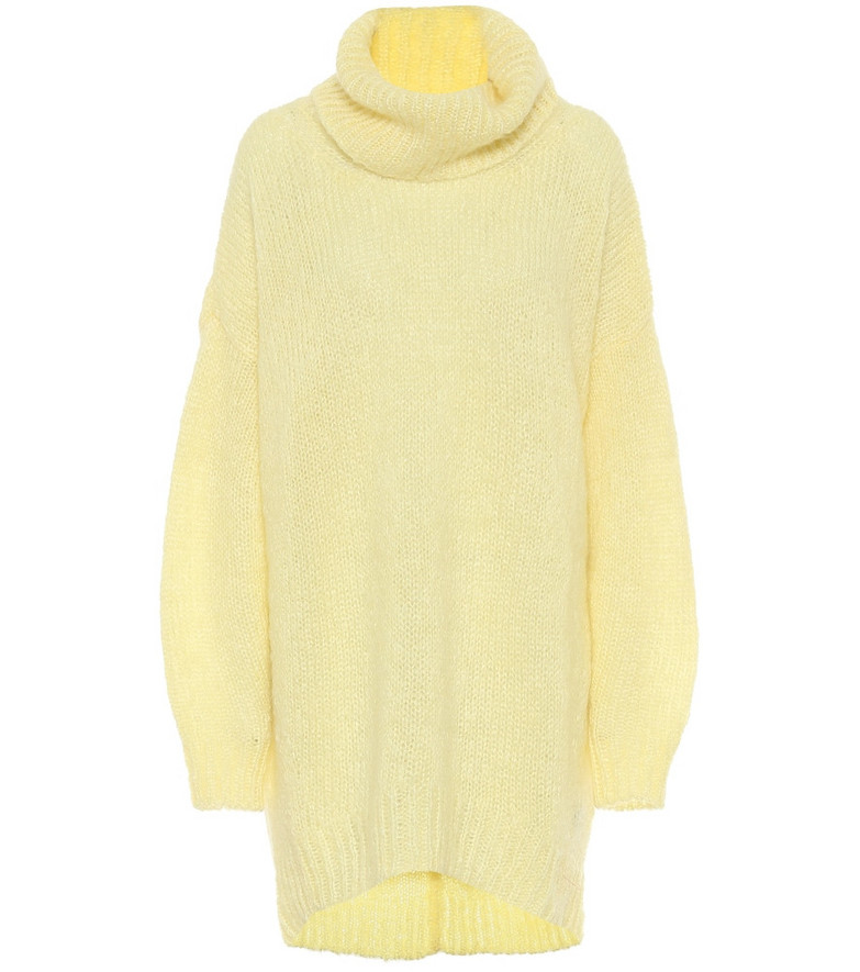 Isabel Marant Eva mohair-blend oversized sweater in yellow