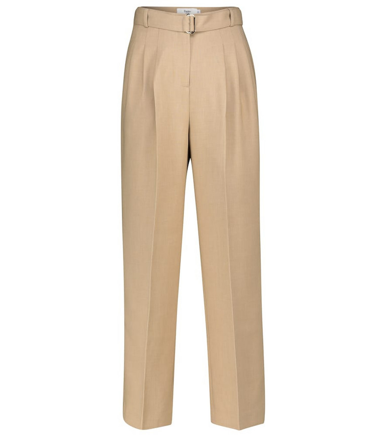 Frankie Shop Belted straight pants in beige