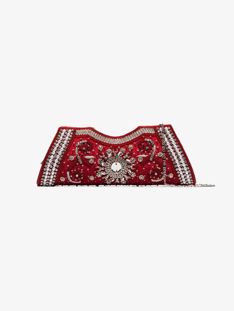 Shrimps red Dallas crystal baguette clutch bag