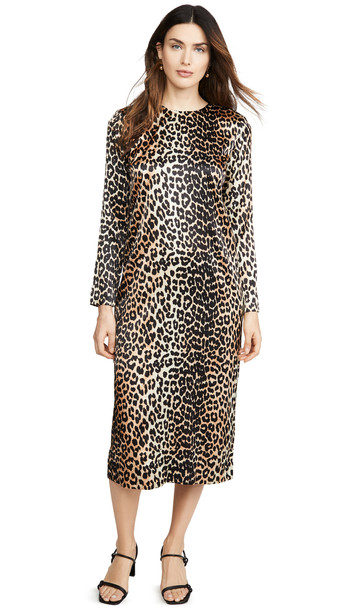 GANNI Silk Stretch Satin Dress in leopard