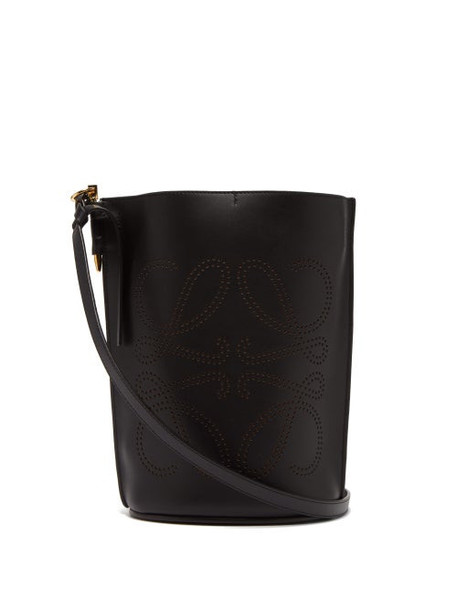 Loewe - Gate Anagram Perforated Leather Bucket Bag - Womens - Black