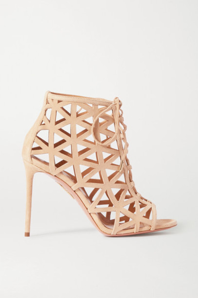 Aquazzura - Graphiste 105 Laser-cut Suede Sandals - Neutral
