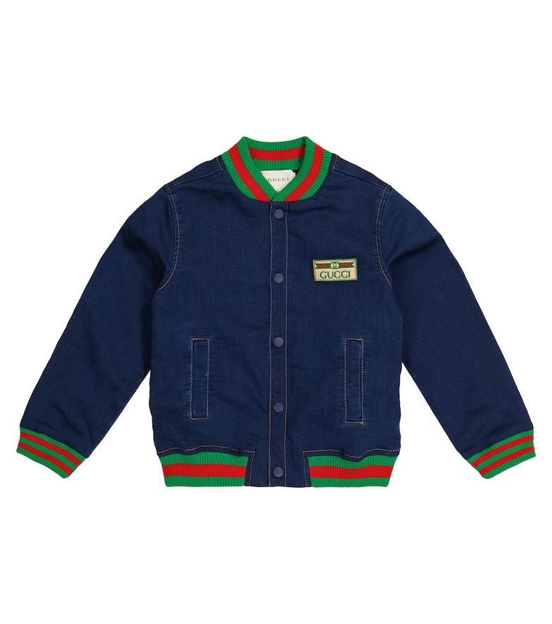 Gucci Kids Baby denim jersey jacket in blue