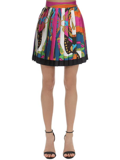 VERSACE Printed Silk Twill Mini Skirt in red / multi