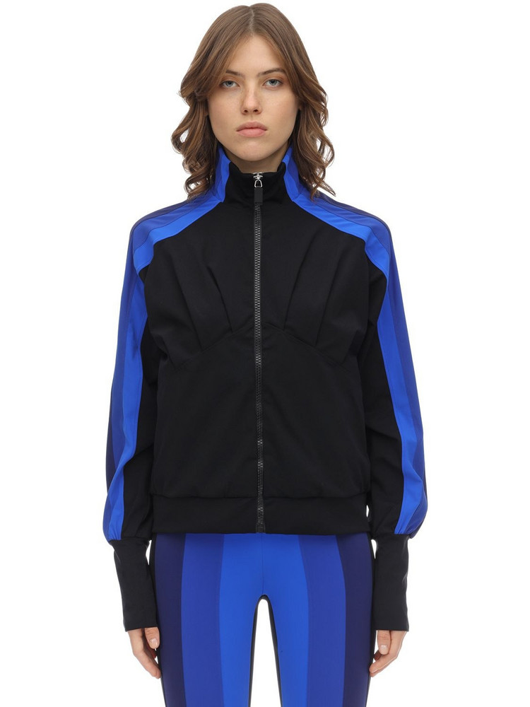 NO KA'OI Powerhouse Stretch Nylon Zip-up Top in black / blue