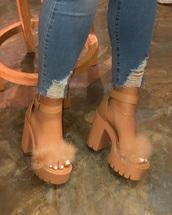 shoes,block heels,fluffy