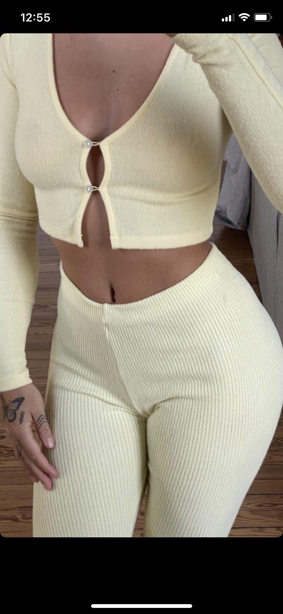 pants yellow cute comfy lounge wear