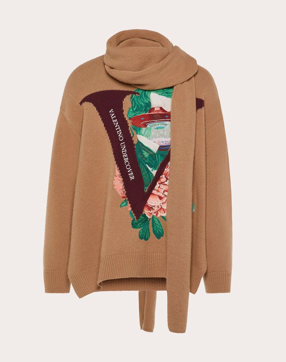 Valentino Uomo Sweater With Scarf And V Face Rose Embroidery