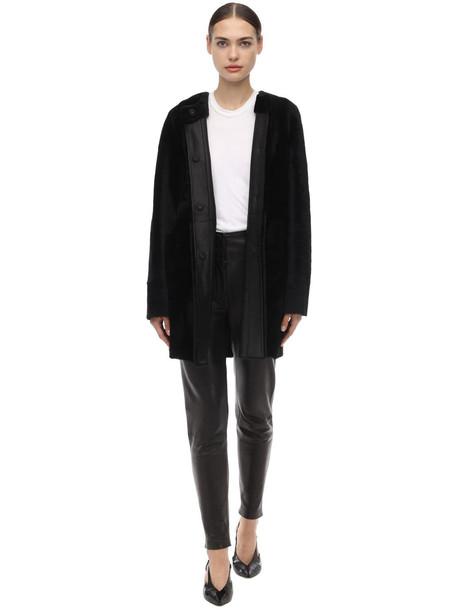 DROME Reversible Round Neck Merinillo Coat in black