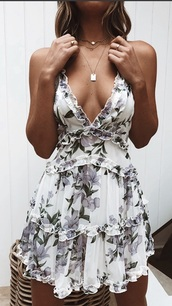 dress,white,floral,lilac,flowers