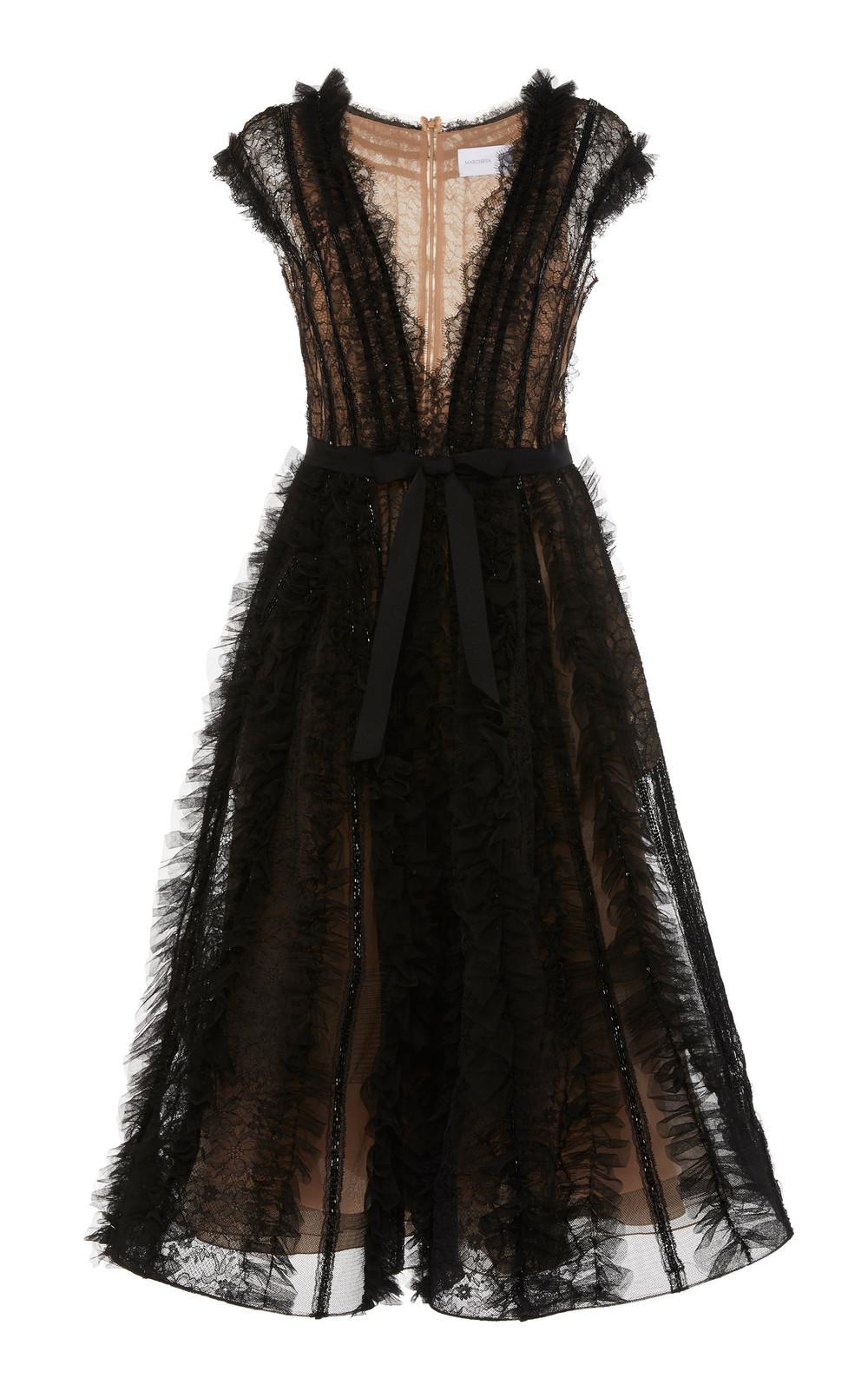 Marchesa A-Line Tulle Midi Dress in black