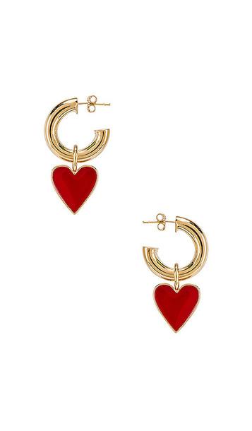 joolz by Martha Calvo Amour Enamel Hoop Earrings in Metallic Gold