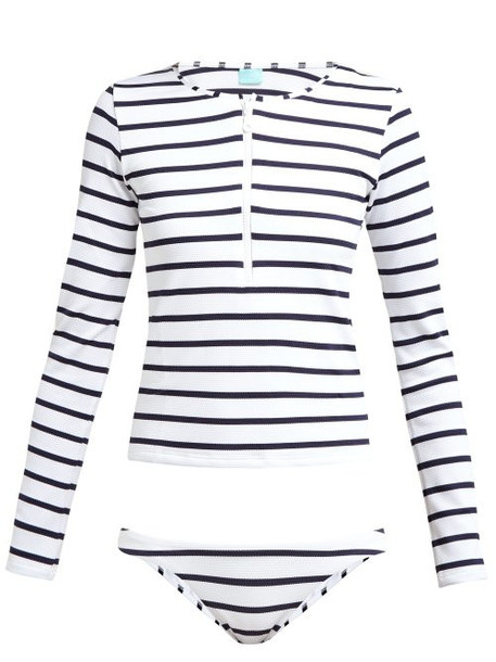 Melissa Odabash - Cali Striped Rash Guard Bikini - Womens - Navy Stripe