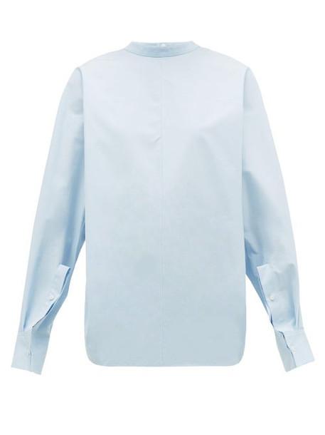 Jil Sander - High Neck Cotton Poplin Top - Womens - Light Blue