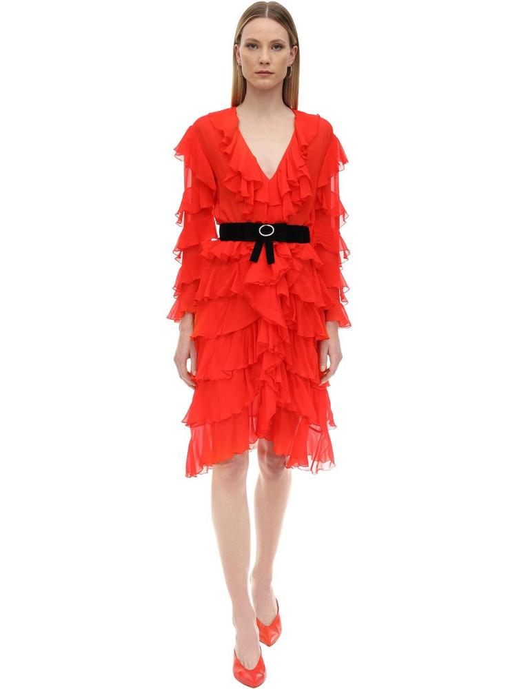 MARIANNA SENCHINA Ruffled Silk Midi Dress in red